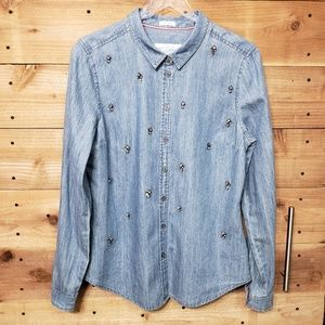 Joules Superduper Shirting Embellished Chambray